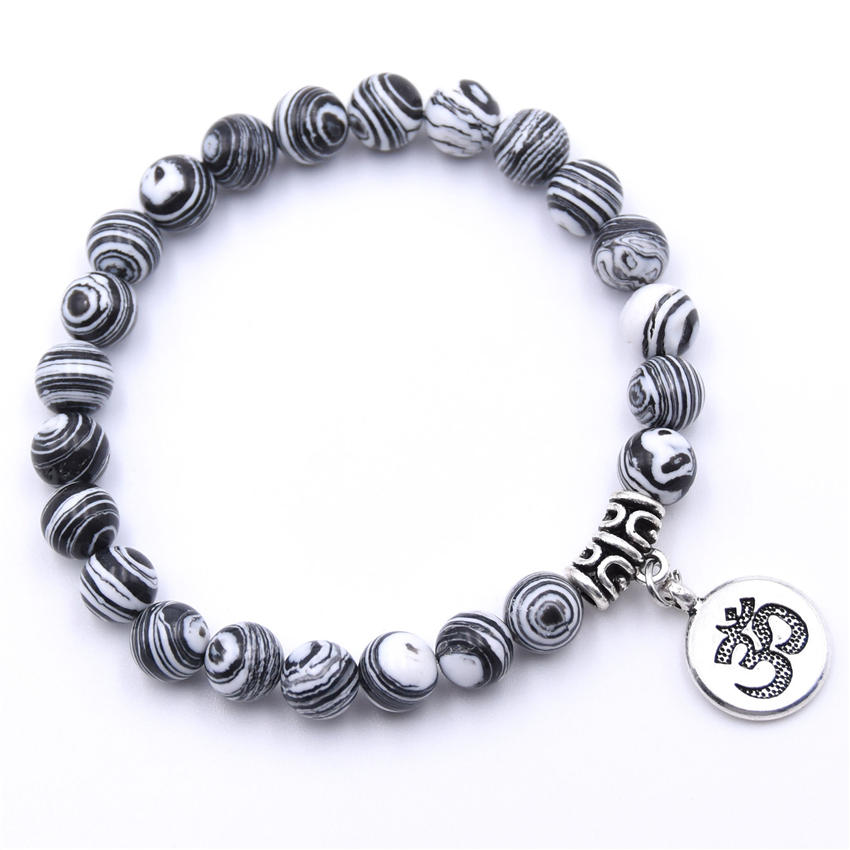 Natural Stone Strand Bracelet Yoga Chakra Mala Bracelet OM Lotus Women Men Beaded Charm Bracelet Jewelry Pulseras dropshipping - Окраска металла: ZT110-11