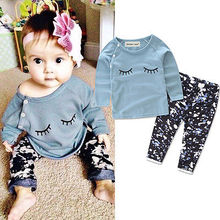 2 Pieces Cute Newborn  Baby Girls Tops Long Sleeve Green T- Shirt Pants Outfit Set