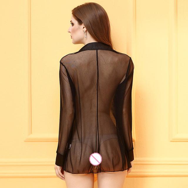 2017 Women Sexy Sheer Lingerie Vetement Sexy Full Sleeve Shirt Sleep Wear Fishnet Pajamas Porno Lingerie Sexy Underwear
