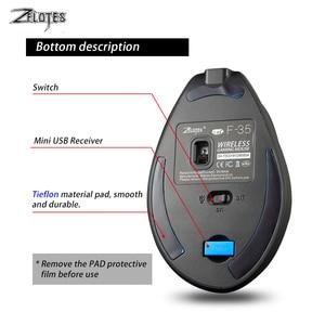 Image 5 - Mysz Raton Zelotes F 35 2.4GHz pionowy bezprzewodowy akumulator USB 2400DPI 6 przycisk komputer do gier myszy na laptopa PC