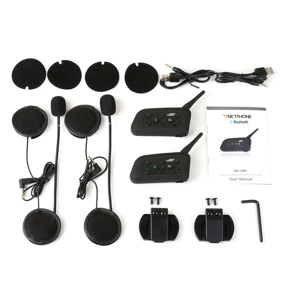 Portable Bluetooth casque de moto Interphone Interphone casque système de Communication Interphone Microphone 1200 m étanche