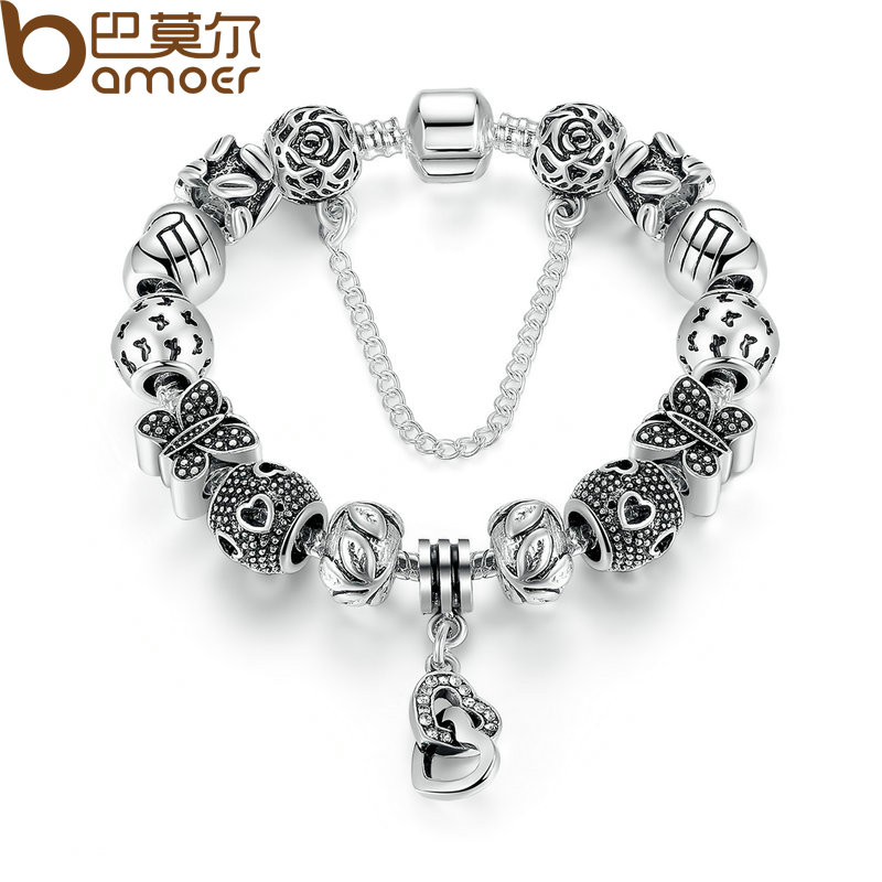 BAMOER Silver Color Safety Chain Friendship Bracelets with Heart & Heart Pendant Butterfly Beads Bracelets Jewelry PA1493 friendship bracelets