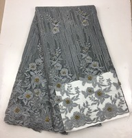 Exclusive Plain Ash Embroidery French Lace African Mesh Tulle Lace Fabric With With Stones Beads High