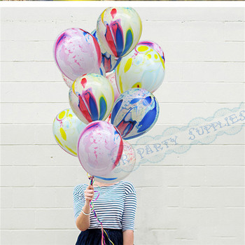 100pcs Unicorn Balloons Marble Balloons with White Bows Curling Ribbon Black Yellow Blue Pink Green Colorful Party Supplies