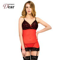 Comeondear Babydoll Lingerie Sexy Erotic Fashion Lace Patchwork Mini Skirt With Garter Belt Babydoll Dress G