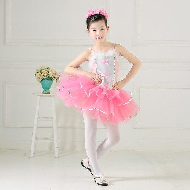 Envío Gratis niñas niños bowknot Rosa princesa Ballet leotardo ...
