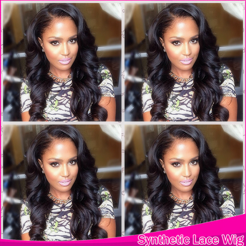 #1 Or Black Colors Synthetic Wig Body Wave Half Handmade 100% Synthetic Lace Front Lace For Brazilian Women By Fast Shipment