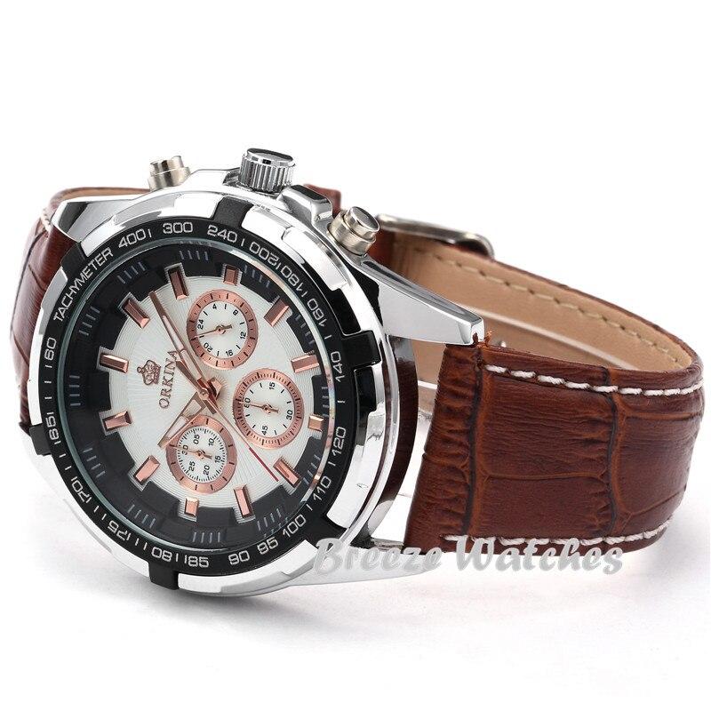 MG. ORKINA 45mm blanc boîtier hommes montres Quartz Casusal montre-bracelet café marron bracelet en cuir mâle horloge montre Relogio Masculino - 3