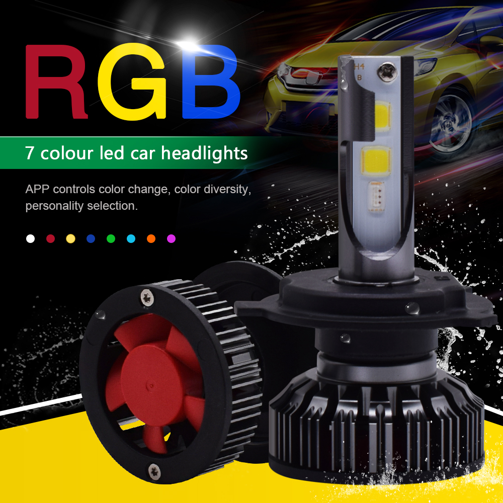 APP Bluetooth Control RGB Car LED Headlight Changeable Color Light H1 H3 H8 H11 9005 9006 D2S Auto Head Lamp H4 Led H7 Bulbs