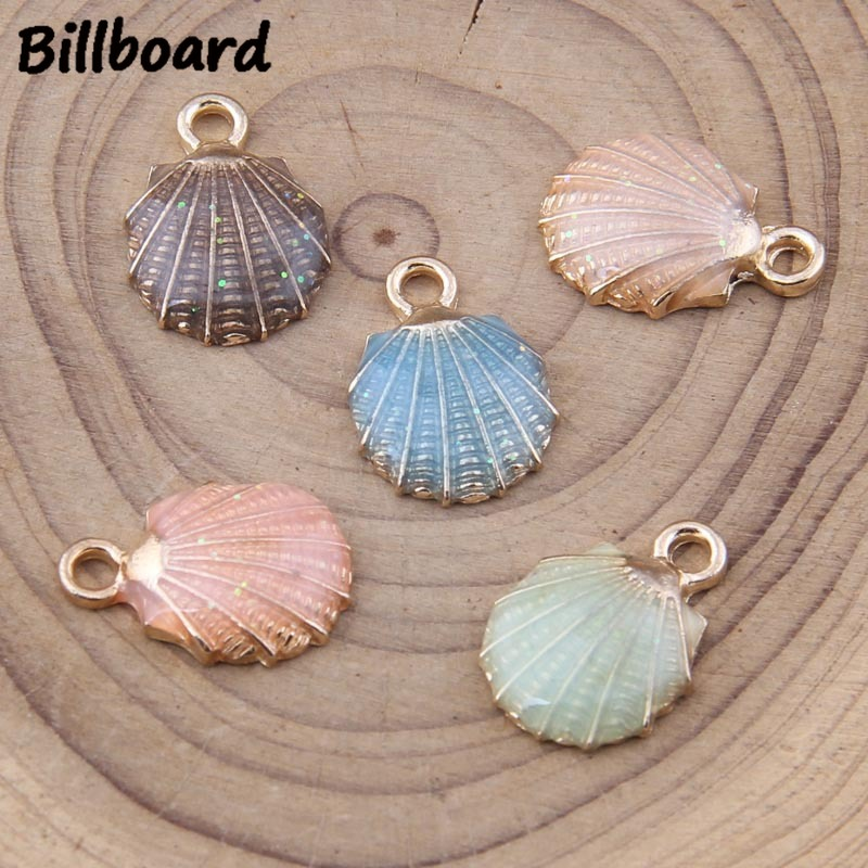 Charms for Jewelry Making Enamel Charms Zinc Alloy Metal TrendyColoured Shell Charm Diy Clip 10pcs bag in Charms from Jewelry Accessories