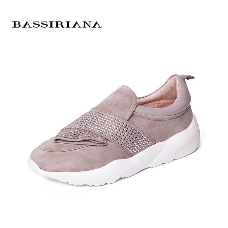 BASSIRIANA yeni hakiki deri rahat düz ayakkabı kadın Platformu slip-on beyaz taban siyah pembe haki ilkbahar yaz 35- 40 boyutu