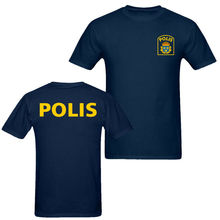 2019 Fashion Double Side Sweden Polis Police MenS T Shirt Navy Blue Unisex Tee