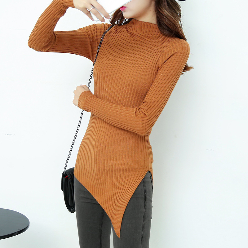 2016 Direct Selling Wool Autumn And Winter Fashion Dress Factory Direct Stretch Slim Irregular Sleeved Sweater Knitted Shirt