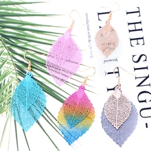 Chic Leaves Drop Earrings Colour Double Hollow Out Leaf Dangle Bohemian Style Large Earrings For Women Charm Jewelry oorbellen pair of chic rhinestone hollow out eyes pendant earrings for women