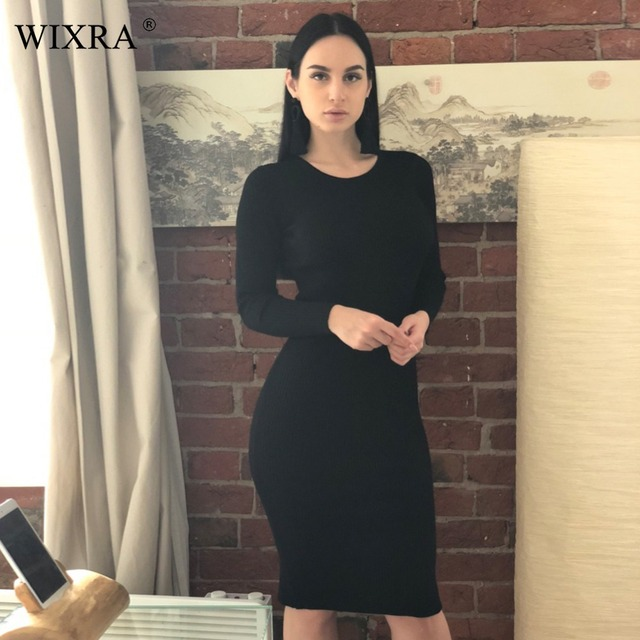 Wixra Fashion Women Long Sleeve Bodycon Sexy High Street Solid Dresses Back Split O Neck Knitted Knee-Length Dress For Women