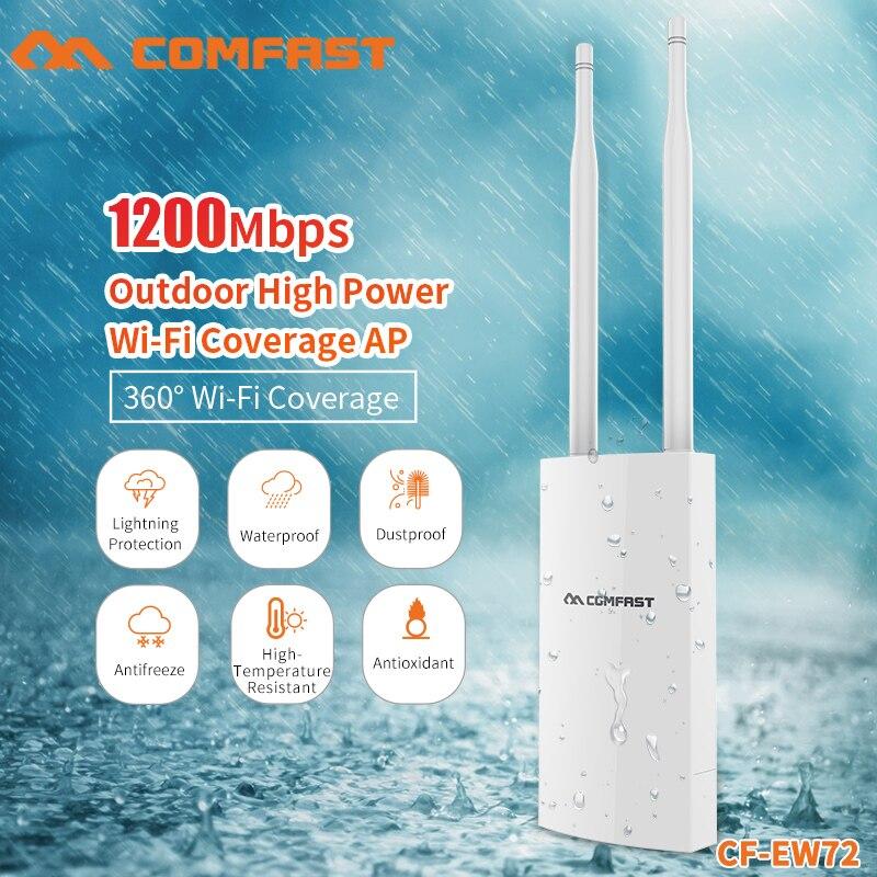 COMFAST 1200 Mbps Gigabit double bande 5.8G routeur AP extérieur accès WiFi couverture haute puissance Point d'accès Wifi répéteur CF-EW72