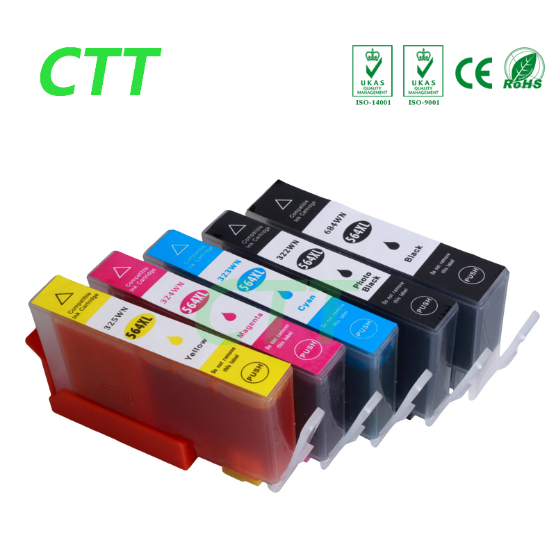 5pcs hp564 564XL ink cartridge compatible For hp Photosmart 5510 5511 5512 5514 5515 5520 5522