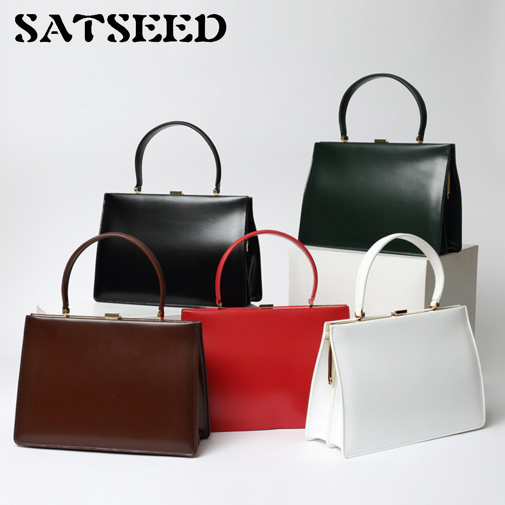 2017 New Colorful  Street Early Autumn Vintage Box Leather Hand Bag Leather Bag new grub street