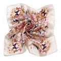 [LESIDA] Patrón de Mariposa de color beige de Impresión De Seda Liso Bufanda de La Señora Head Scarf Bandana Foulard Mujeres Bragas de Cuello de Satén Niñas XF1020