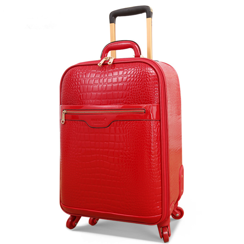 Married the box bride box full red pu luggage suitcase trolley luggage female universal wheels password box travel soft bag