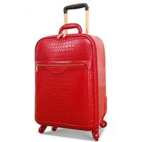 Se casó con la caja de novia completo rojo pu equipaje maleta ruedas universales femeninos equipaje trolley viaje caja contraseña bolso suave