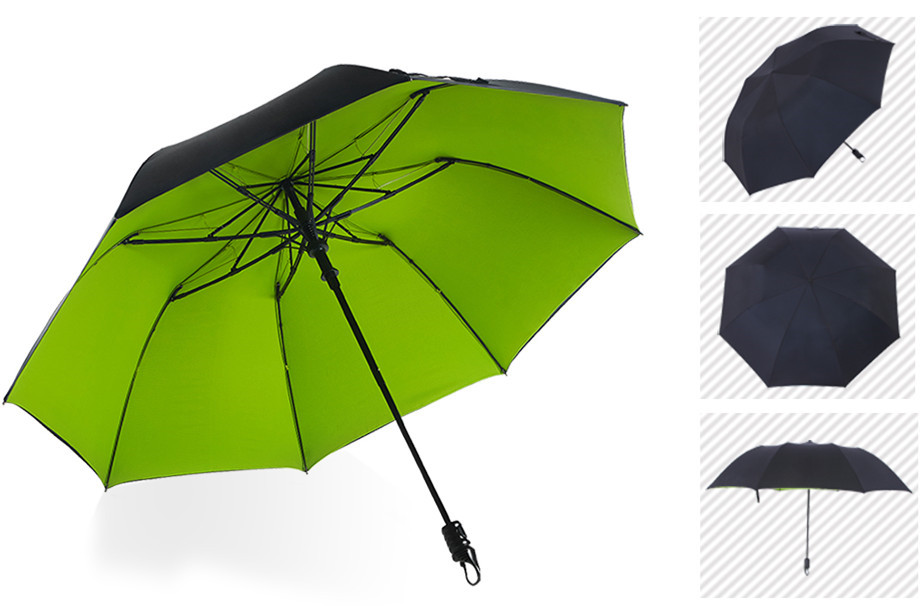 113cm (3pcs/lot)75T steel alloy parasol visible real double layers carbon fiberglass two fold auto open hook mini golf umbrellas