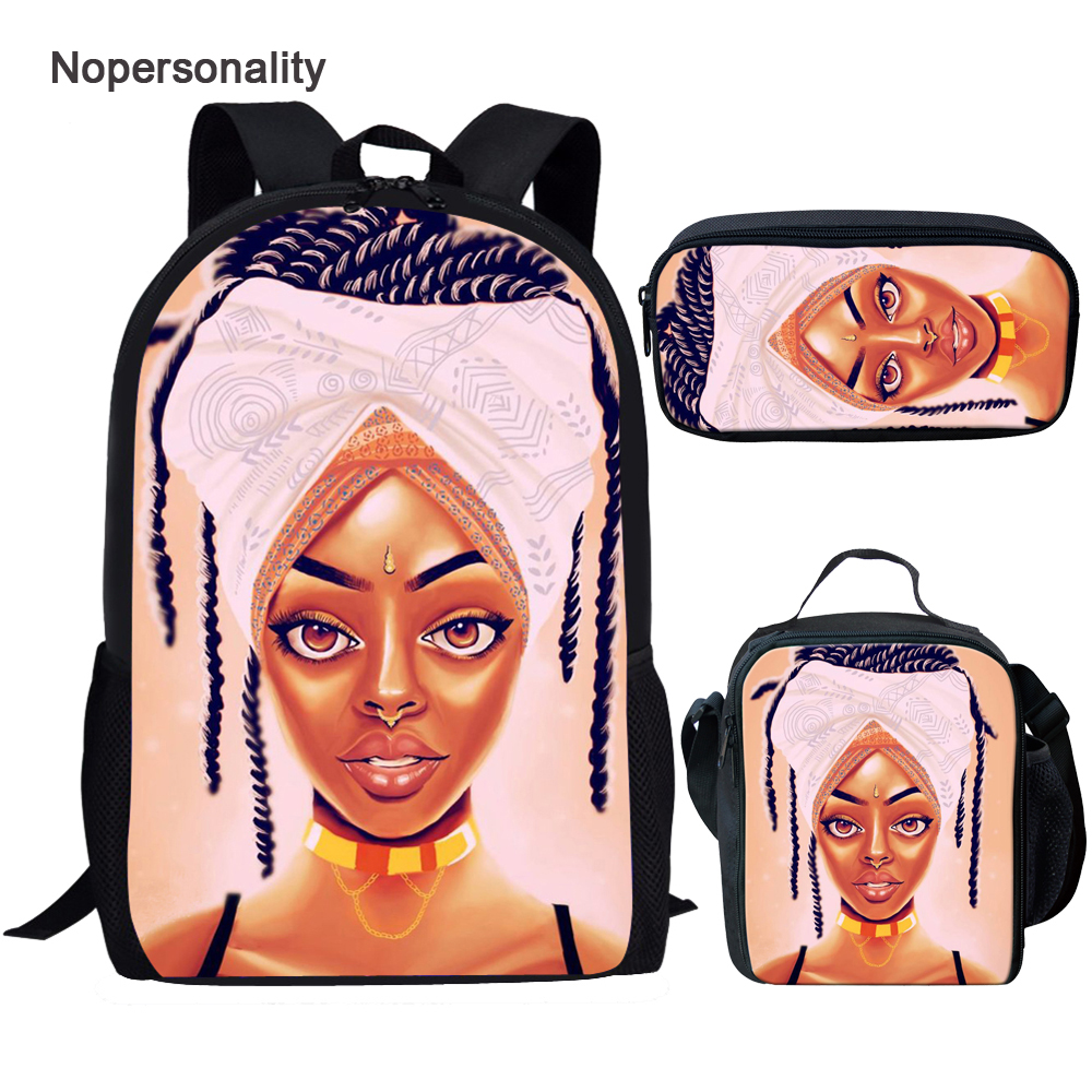 Nopersonality Bookbag Rucksack Print-Backpack-Set Queen Girls Black Unique Children American