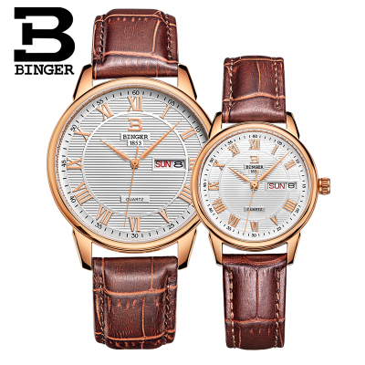New Binger Lover Watches Man Sport Relogio Masculino Quartz Watch Waterproof Gold Leather Big Dial Luxury Brand Wristwatch Men mige 20017 new hot sale top brand lover watch simple white dial gold case man watches waterproof quartz mans wristwatches
