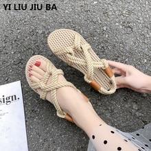 new Summer Sandals Women shoes Plus Size 35-40 Flats Female Casual Peep Toe Shoes hemp Slip On Elastic Leisure shoes women **779 недорого