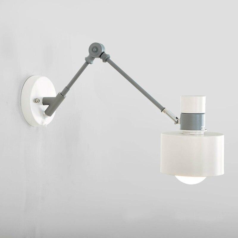 Скандинавские настенные лампы простые макароны для гостиной, кровать, выдвижная твердая древесина, настенная лампа, креативный коридор, на