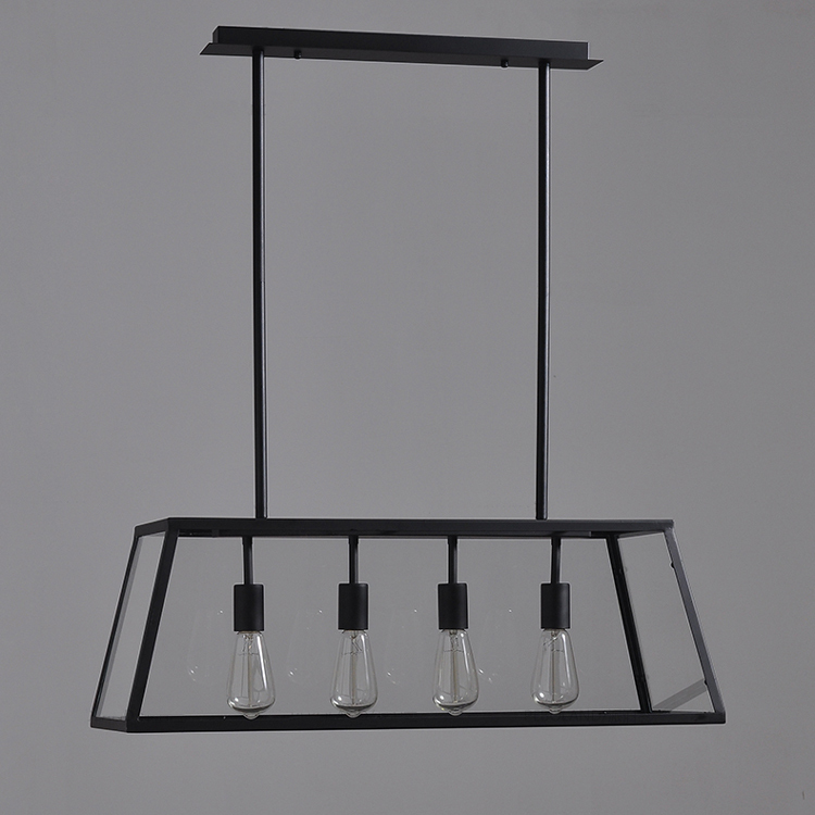 Ems Shipping Vintage Chandelier Iron Matte Black Body Clear Gl Shade Hanging Light For Living Room In Pendant Lights From Lighting