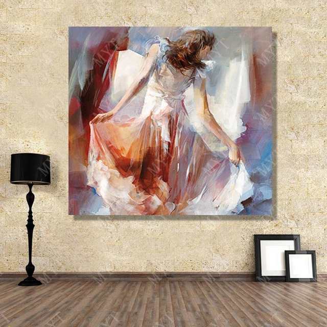 Beautiful Ballet Dance Impressionism Canvas Art Paintings By Hand Painted Fabric Design Decor