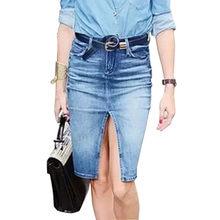86533fb7121 Модная Джинсовая юбка с разрезом осень средняя талия прямые джинсовые юбки  женские простые сексуальные юбки-карандаш офисные мид.