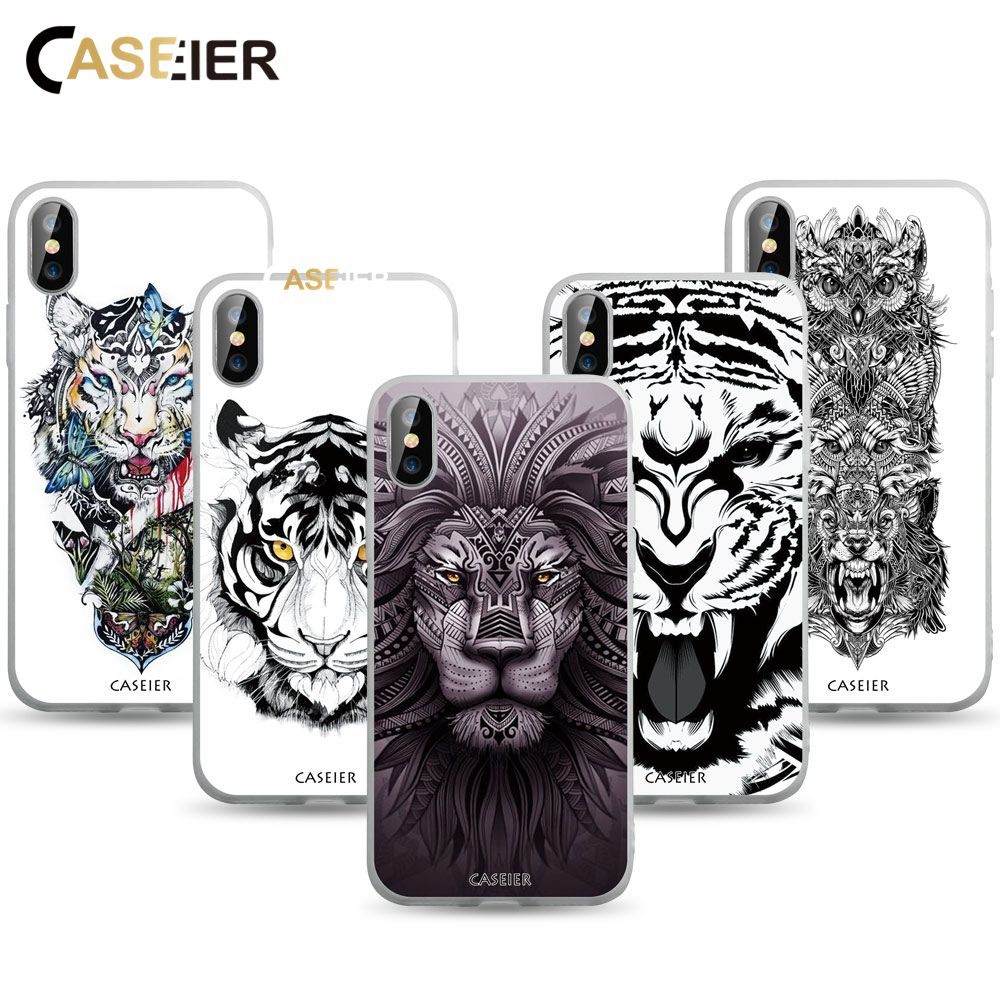CASEIER Matagal Caso Tatuagem Para o iphone 6 7 6 S Mais Funda Para iPhone 6 8 Plus X Animais Estampados 7 6 S Plus 8 8 Plus X Caso TPU Macio