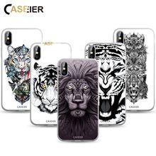 CASEIER Scrub Tattoo Case For iPhone 6 7 6S Plus 8 Plus X Animal Patterned Funda For iPhone 6 7 6S Plus 8 8Plus X Soft TPU Case перьевая цветочным узором мягкая тонкая резиновая оболочка из силиконового геля tpu для iphone 6 plus 6s plus