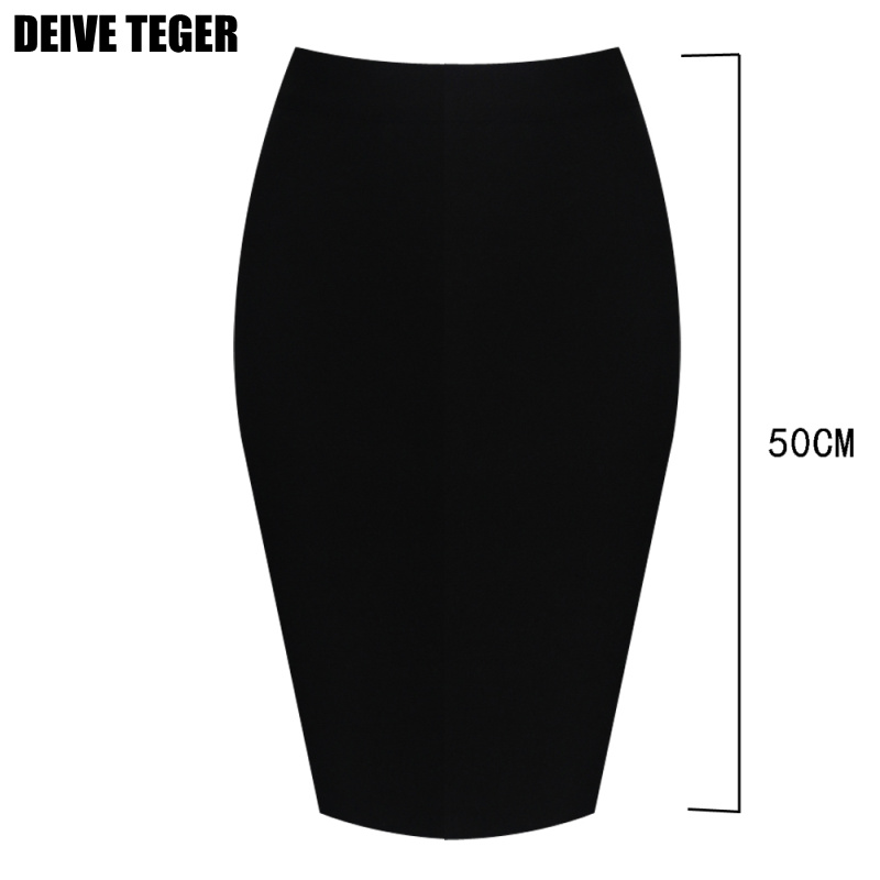 DEIVE TEGER Solid Color 50CM Length Pencil Mini Women Office  Polyester  Skinny Short Skirt  HL2621