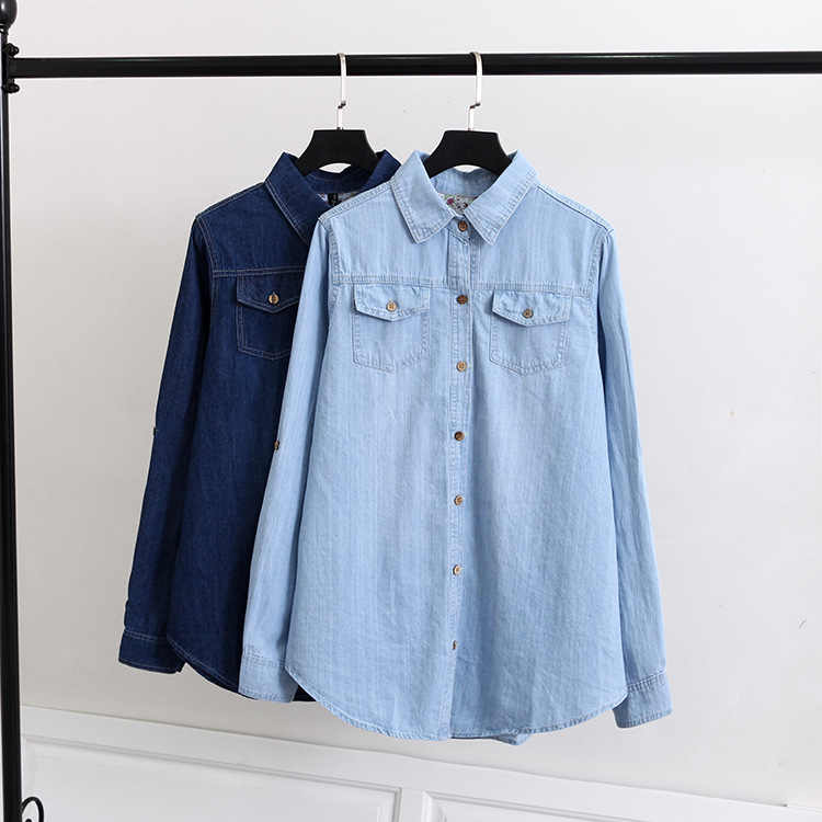 S68 Spring Casual Blouses 5XL Plus Size Women Clothing Fashion Long Sleeve Loose Two pockets Denim Shirt 024