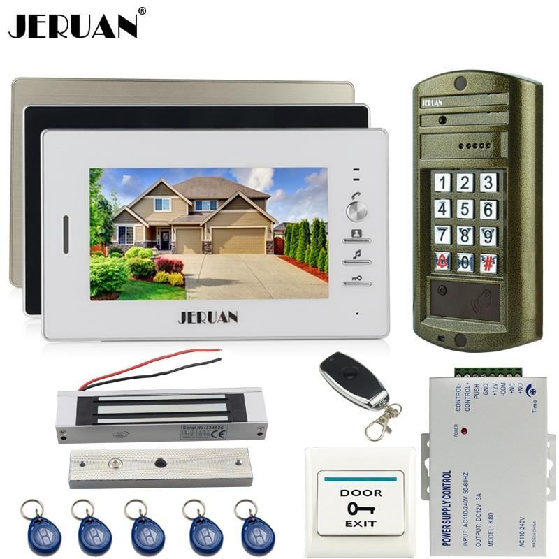 HOME NEW 7 INCH TFT Video Doorbell Door Phone Intercom System Kit 3 Monitor + Metal Waterproof Password HD Mini Camera 1V3