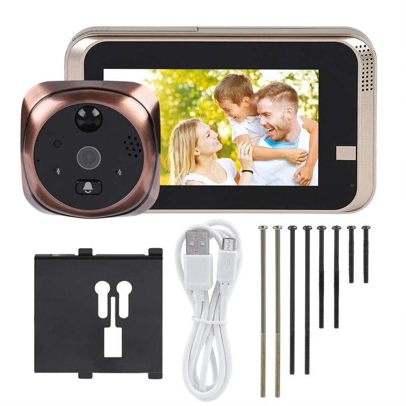 Video Peephole Doorbell, 720P 4.3Inch Hd Screen Wifi Smart Peephole Viewer Doorbell Waterproof Home Visible Intercom Doorphone