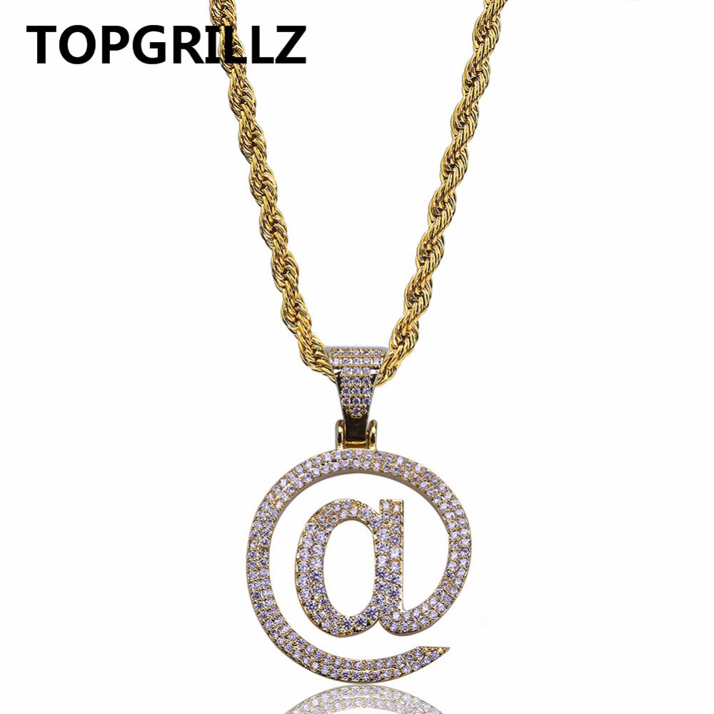 TOPGRILLZ HipHop Jewelry Necklace Gold/Silver Color Iced Out Micro Pave CZ Stone @ Letter Pendant Necklaces With 60cm Rope Chain