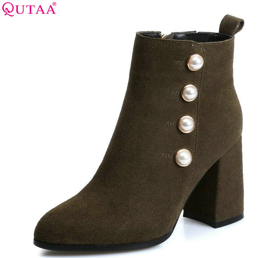 QUTAA 2018 Women Ankle Boots Cow Suede + Pu Leather Fashion Square High Heel Pointed Toe Zipper All Match Women Boots Size 34-39 qutaa 2018 women ankle boots cow suedezipper fashion pointed toe all match square high heel high quality women boots size 34 39