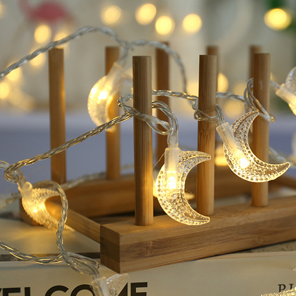 Energy Saving PVC Led Moon Shape Light String Home Decor Waterproof Fairy Battery Powered Holiday Christmas Tree Wedding Party