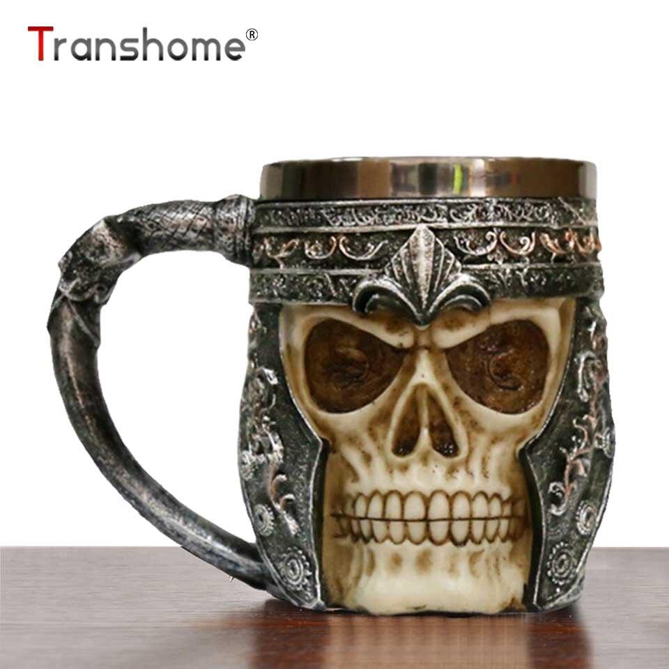 Transhome 3D Del Cranio Della Resina Tazza 350 ml Tankard Striking Warrior Skull Boccale Vichingo Boccali di Birra Gotico Casco Bicchieri Cavaliere Vessel
