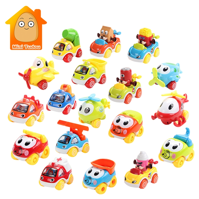 Friction Powered Push and Go Cartoon Car Toys Play Set Pull Back Airplane Model Early Educational Toys Best Gifts For Boys Girls push & pull toy