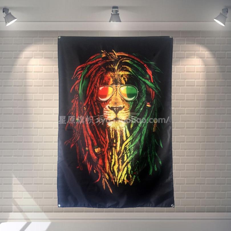 """""""reggae Lion"""" Grande Musica Del Partito Di Festival Sfondo Decorazione Manifesto Striscione Appeso Pittura Di Arte Del Panno 56x36 Pollici Dolcezza Gradevole"""