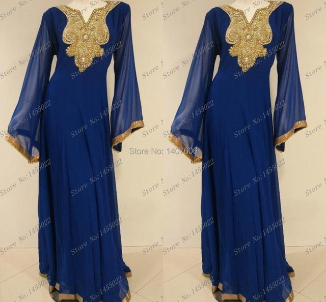 b756ded5576b Real Simple 2014 Gold Beaded Royal Blue Chiffon Abaya Beaded Muslim Long  Sleeve Maxi Dress Jalabiya Moroccan Abaya Kaftan Dress