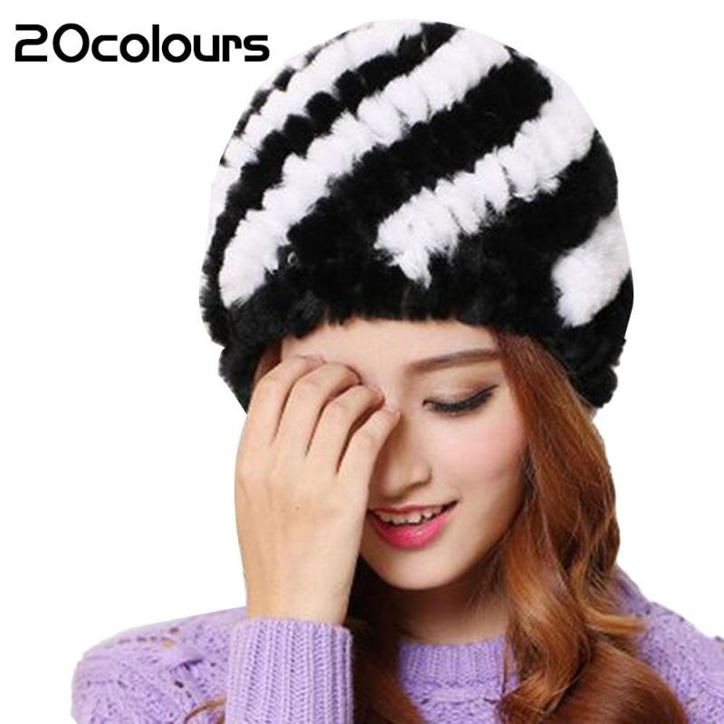 2017 Winter Real Rabbit Fur Hats Warm Stripped Woll Thick Hat Caps Ladies Colorful Elegant Gorras Casual Fur Bone Bonnet Femme 3