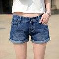 Новый 2016 весной и летом керлинг Леди джинсовые шорты случайные свободные Синий Разорвал Бренда Плюс размер Женщин Шорты Джинсы S2088