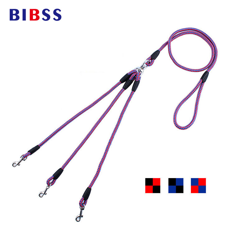 Triple Pet Dog Lead Leash 140CM No Tangle երեք Way Splitter Controls Double Dog Leashes փոքր ցեղատեսակների շների համար