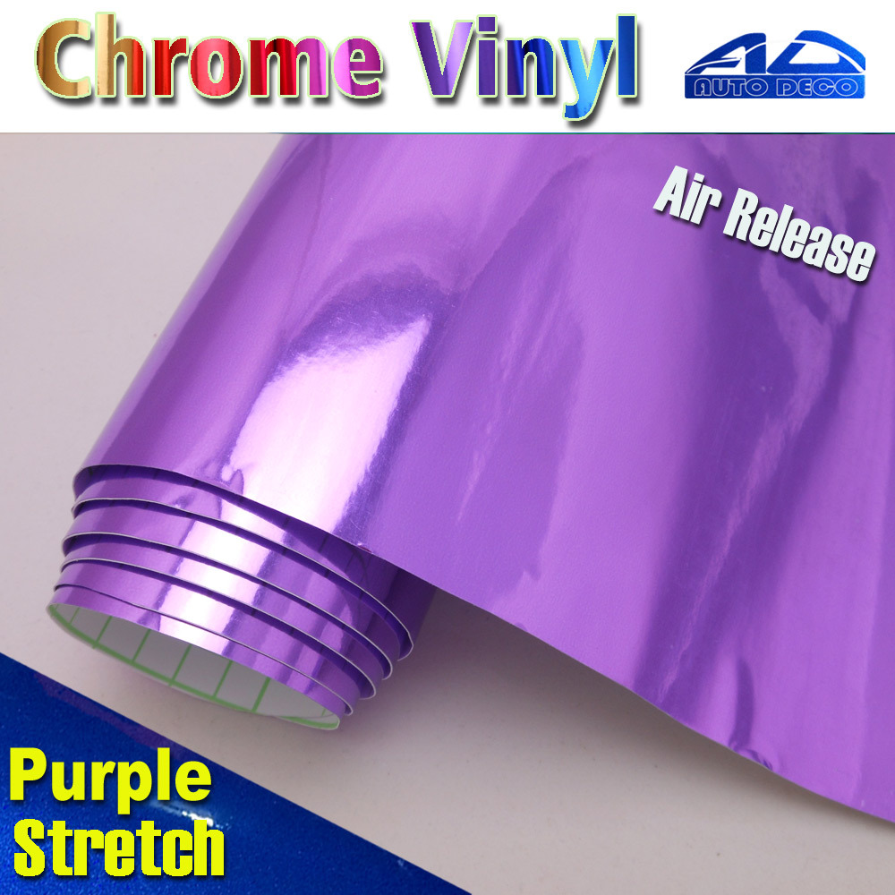 Purple Car Chrome Vinyl Film Wrap Auto Sticker Foil With Air Bubble Free FedEx Free Shipping size:1.52*20m/roll quality guarantee silver chrome vinyl film for car wrapping sticker with air bubble free 20m roll